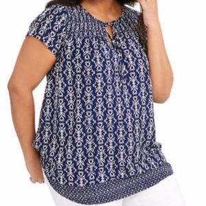 Faded Glory Smocked Peasant Top